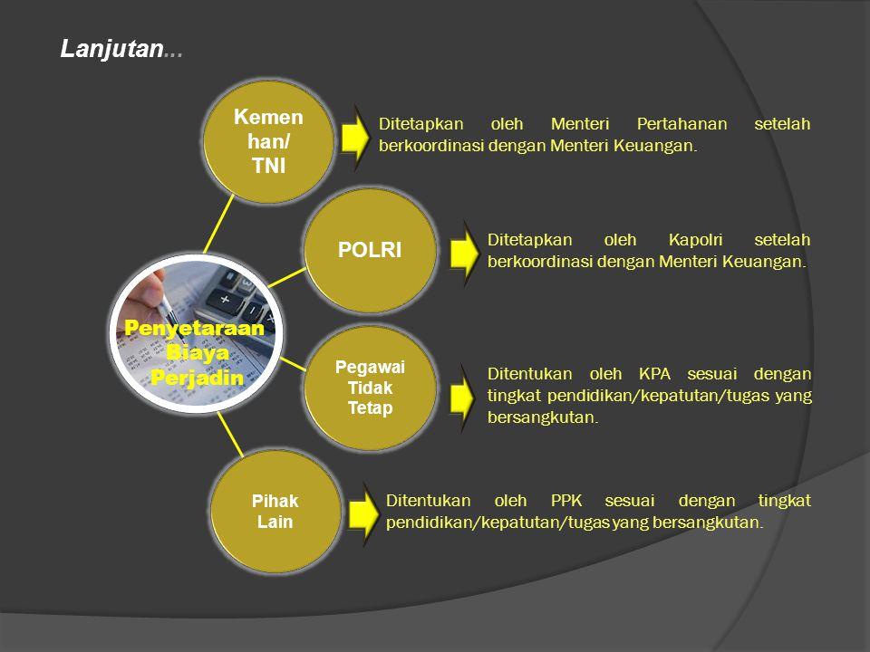 Lanjutan... Kemenhan/ TNI POLRI Penyetaraan Biaya Perjadin