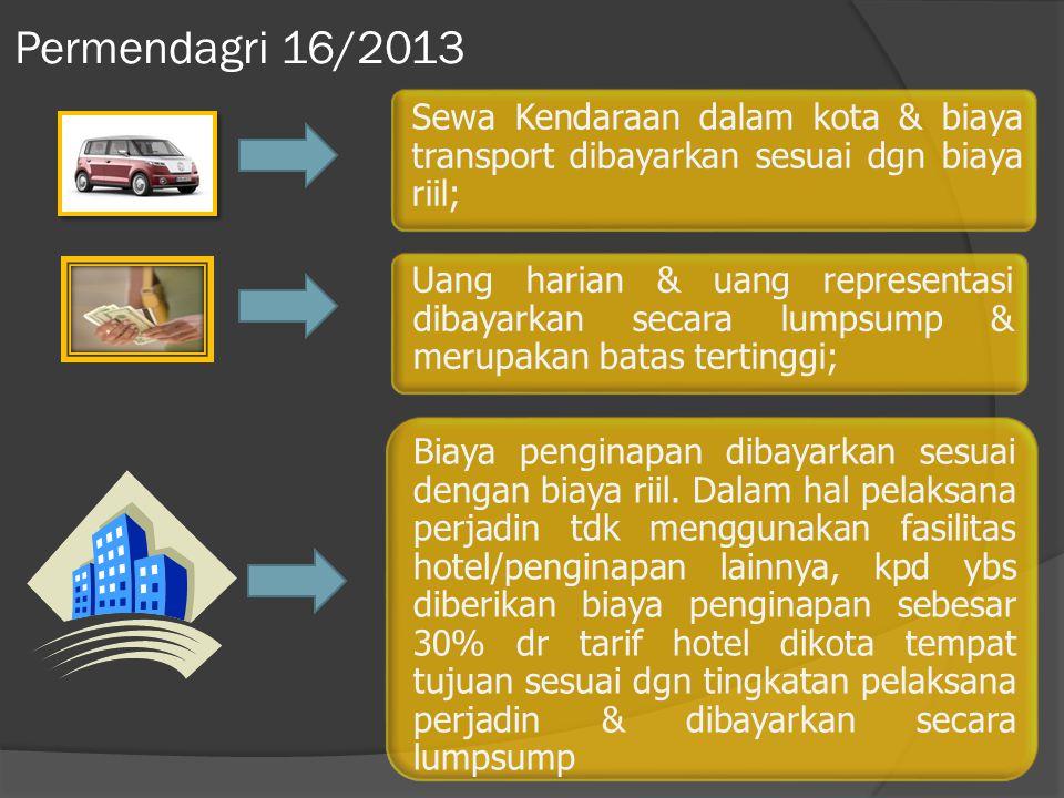 Permendagri 16/2013 Sewa Kendaraan dalam kota & biaya transport dibayarkan sesuai dgn biaya riil;