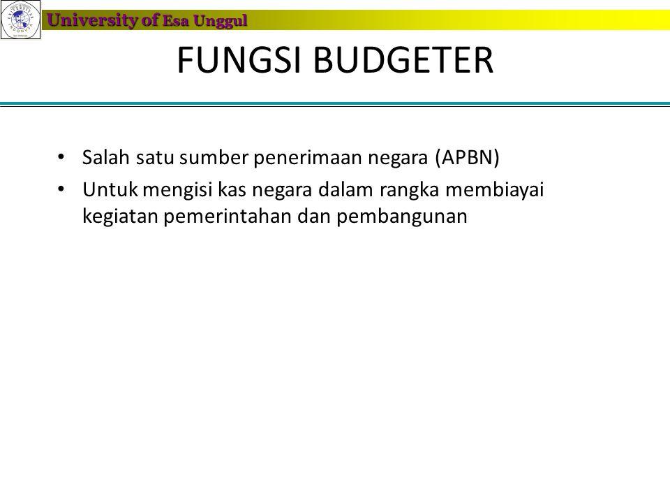 FUNGSI BUDGETER Salah satu sumber penerimaan negara (APBN)
