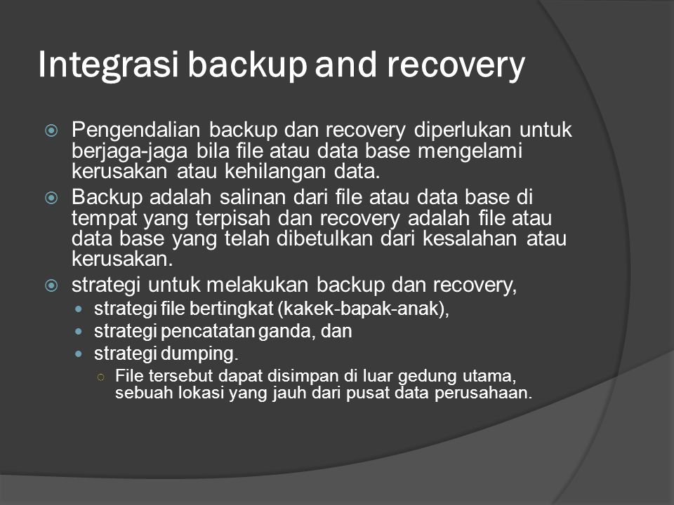 Integrasi backup and recovery