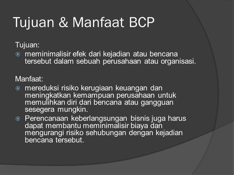 Tujuan & Manfaat BCP Tujuan: