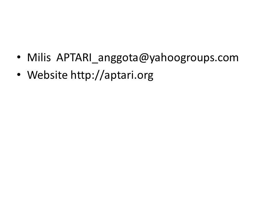 Milis APTARI_anggota@yahoogroups.com