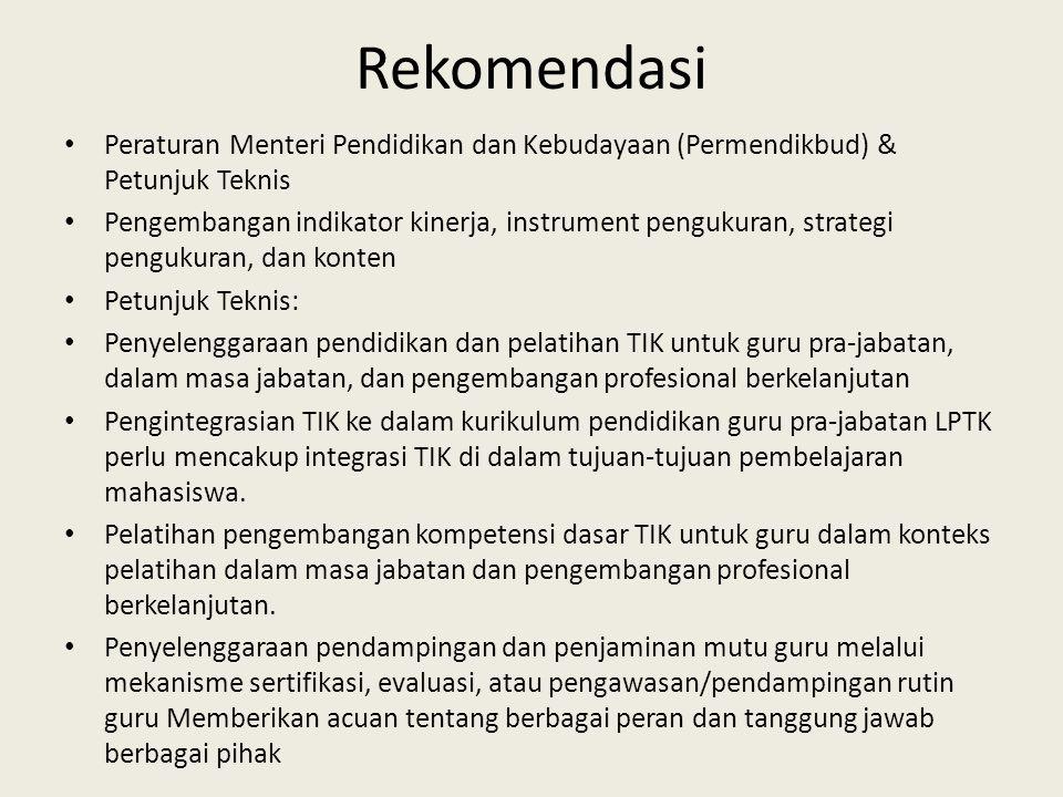 Rekomendasi Peraturan Menteri Pendidikan dan Kebudayaan (Permendikbud) & Petunjuk Teknis.