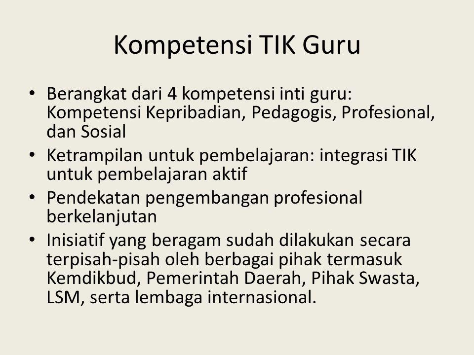 Kompetensi TIK Guru Berangkat dari 4 kompetensi inti guru: Kompetensi Kepribadian, Pedagogis, Profesional, dan Sosial.