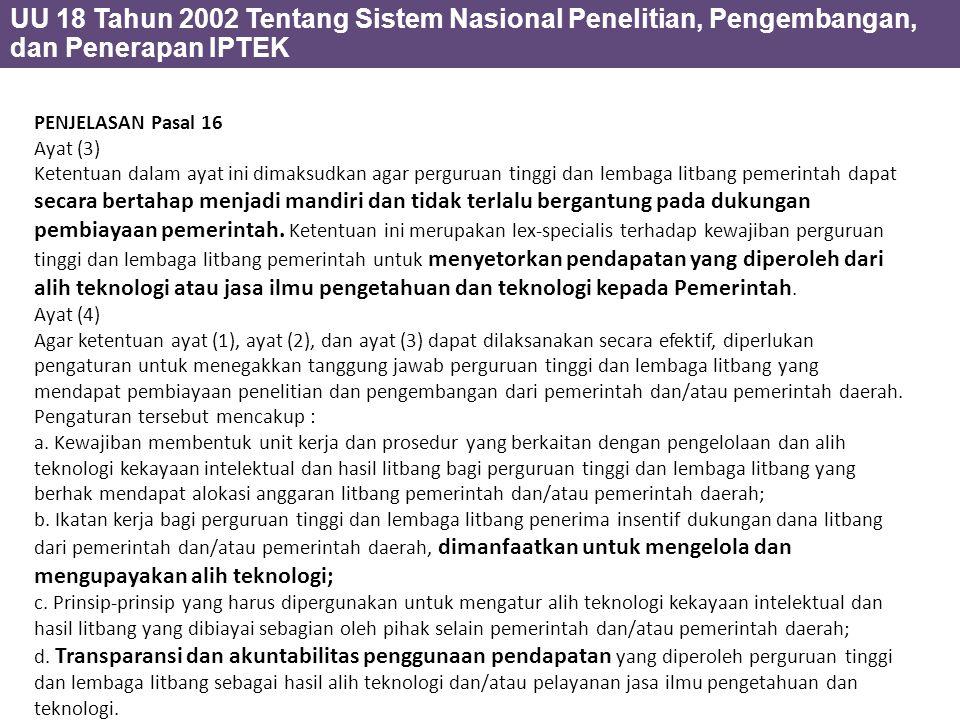 UU 18 Tahun 2002 Tentang Sistem Nasional Penelitian, Pengembangan, dan Penerapan IPTEK