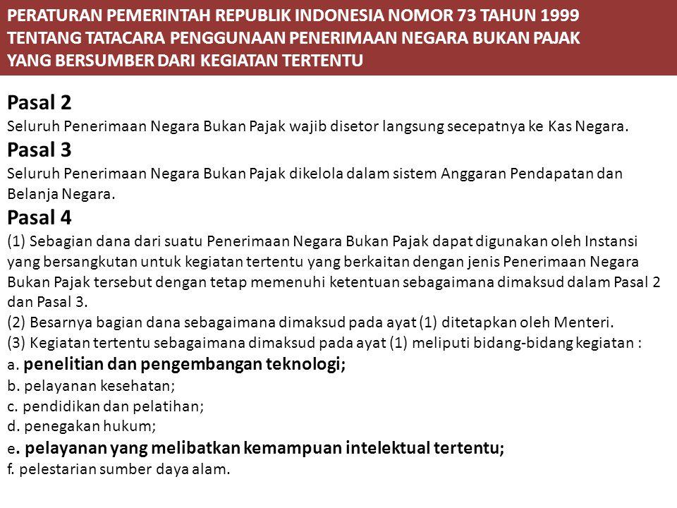 PERATURAN PEMERINTAH REPUBLIK INDONESIA NOMOR 73 TAHUN 1999