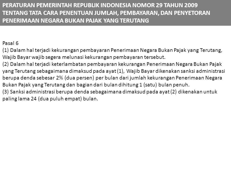 PERATURAN PEMERINTAH REPUBLIK INDONESIA NOMOR 29 TAHUN 2009