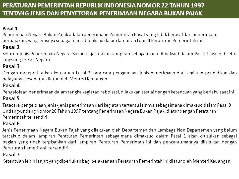 PERATURAN PEMERINTAH REPUBLIK INDONESIA NOMOR 22 TAHUN 1997