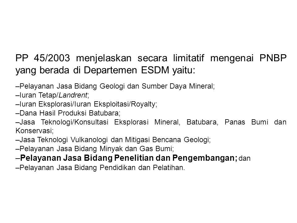 PP 45/2003 menjelaskan secara limitatif mengenai PNBP yang berada di Departemen ESDM yaitu: