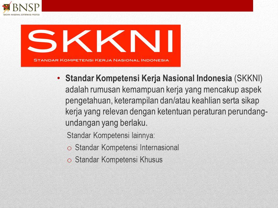 Standar Kompetensi Kerja Nasional Indonesia (SKKNI) adalah rumusan kemampuan kerja yang mencakup aspek pengetahuan, keterampilan dan/atau keahlian serta sikap kerja yang relevan dengan ketentuan peraturan perundang-undangan yang berlaku.