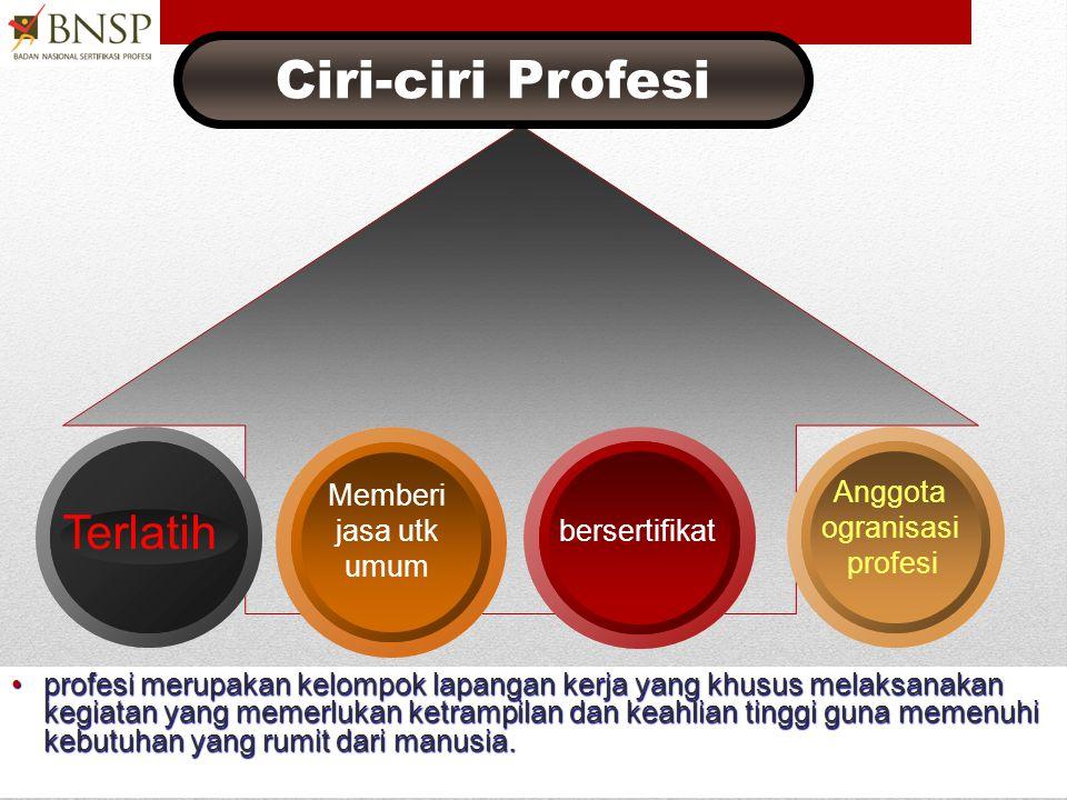 Ciri-ciri Profesi Terlatih Memberi jasa utk umum Anggota ogranisasi