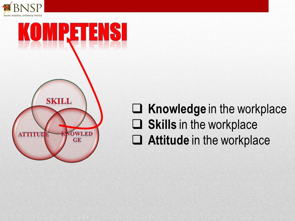 kompetensi Knowledge in the workplace Skills in the workplace