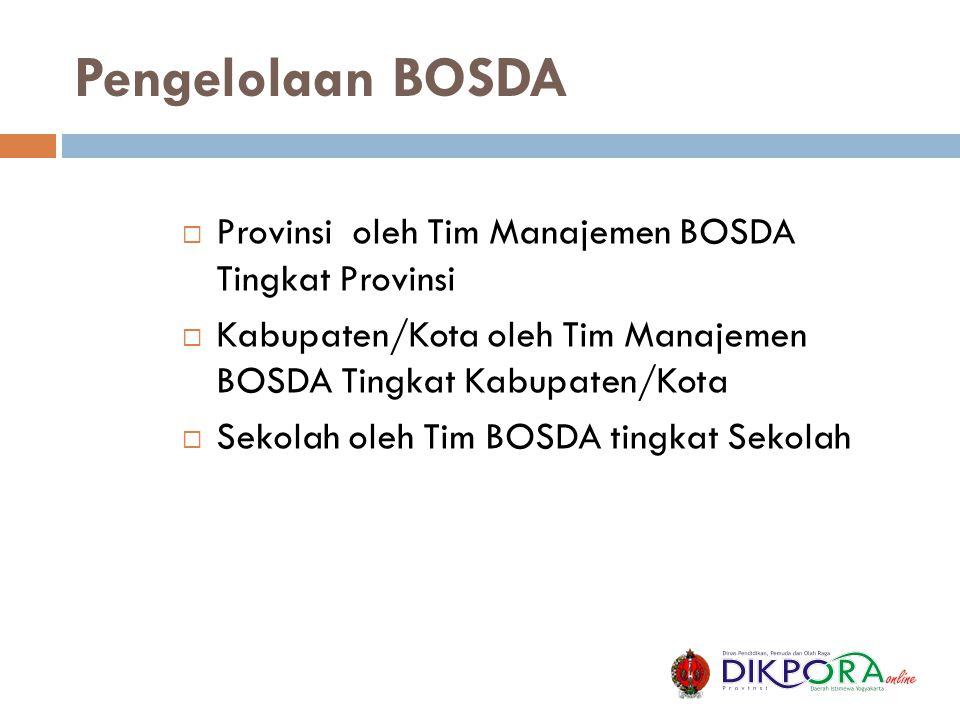 Pengelolaan BOSDA Provinsi oleh Tim Manajemen BOSDA Tingkat Provinsi