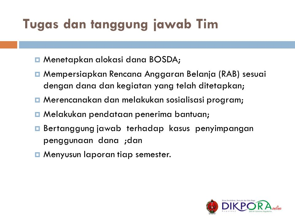 Tugas dan tanggung jawab Tim