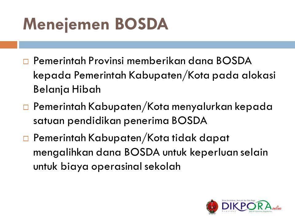 Menejemen BOSDA Pemerintah Provinsi memberikan dana BOSDA kepada Pemerintah Kabupaten/Kota pada alokasi Belanja Hibah.