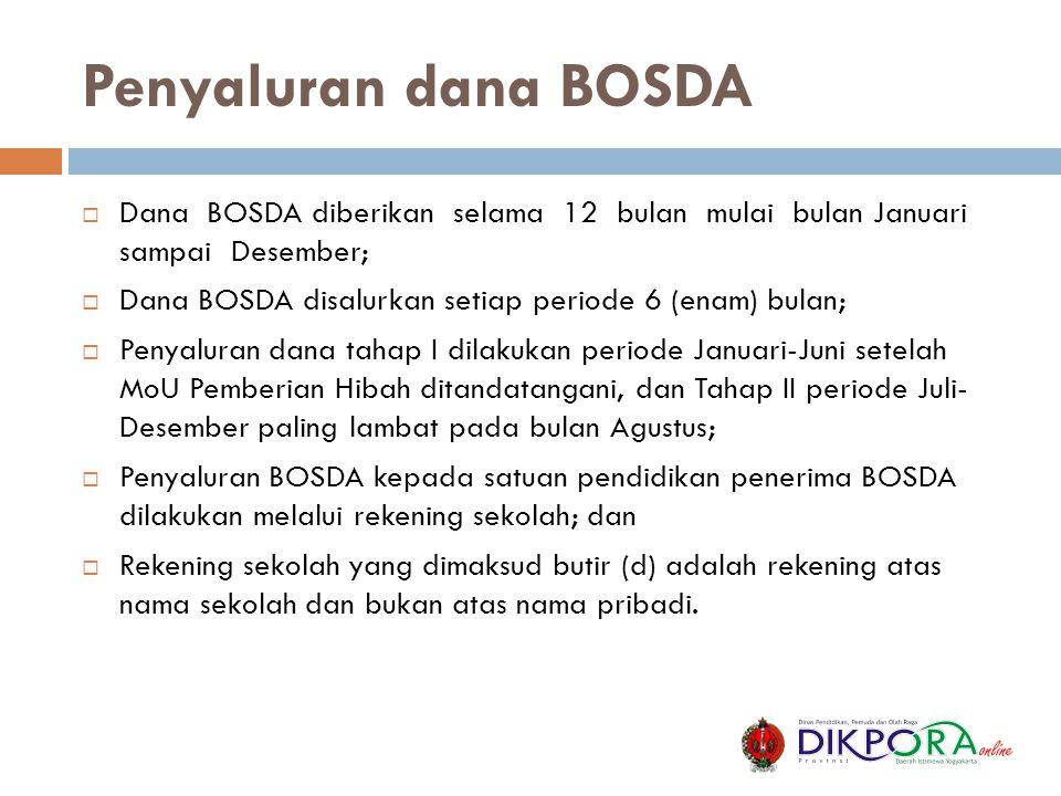 Penyaluran dana BOSDA Dana BOSDA diberikan selama 12 bulan mulai bulan Januari sampai Desember;