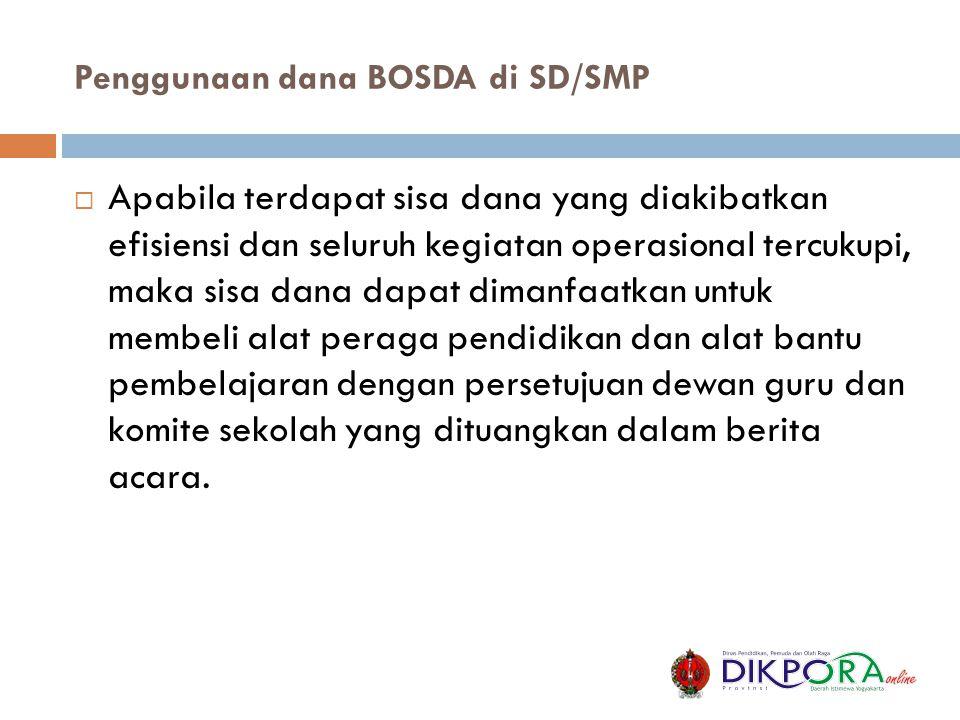 Penggunaan dana BOSDA di SD/SMP