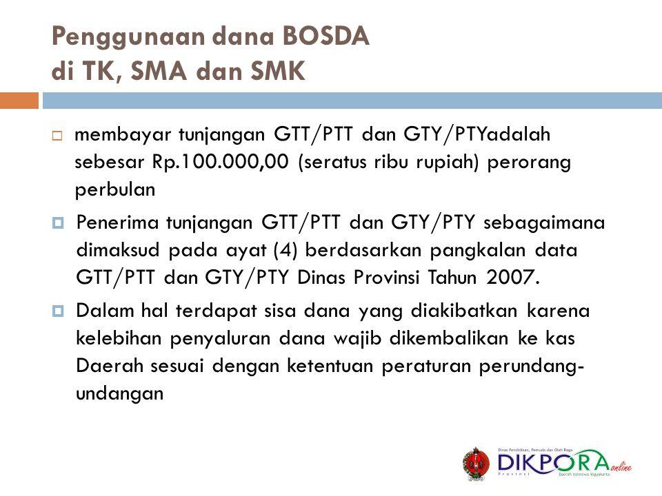 Penggunaan dana BOSDA di TK, SMA dan SMK