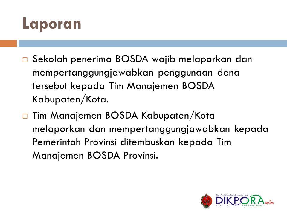 Laporan Sekolah penerima BOSDA wajib melaporkan dan mempertanggungjawabkan penggunaan dana tersebut kepada Tim Manajemen BOSDA Kabupaten/Kota.