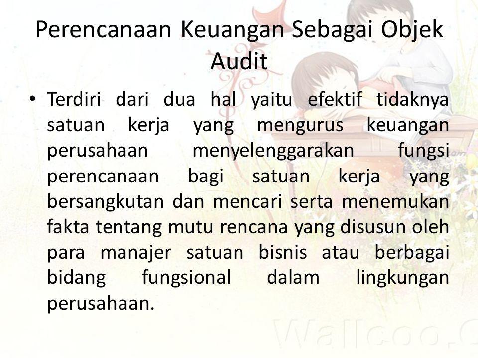 Perencanaan Keuangan Sebagai Objek Audit