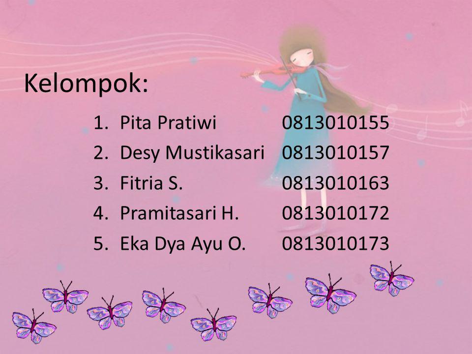 Kelompok: Pita Pratiwi 0813010155 Desy Mustikasari 0813010157