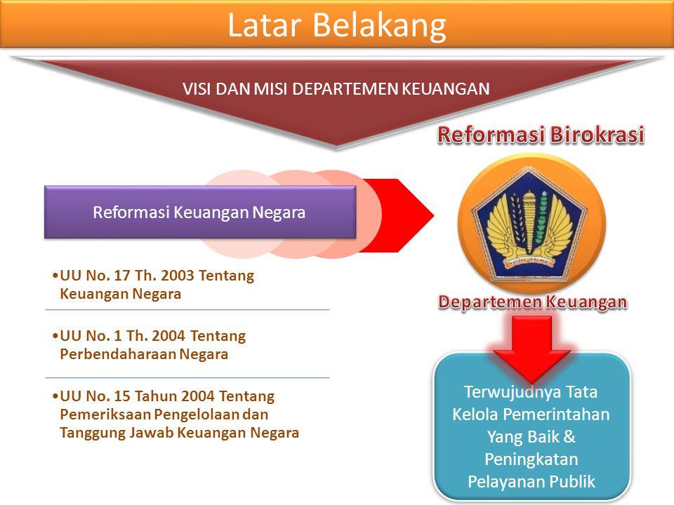 Latar Belakang Reformasi Birokrasi VISI DAN MISI DEPARTEMEN KEUANGAN