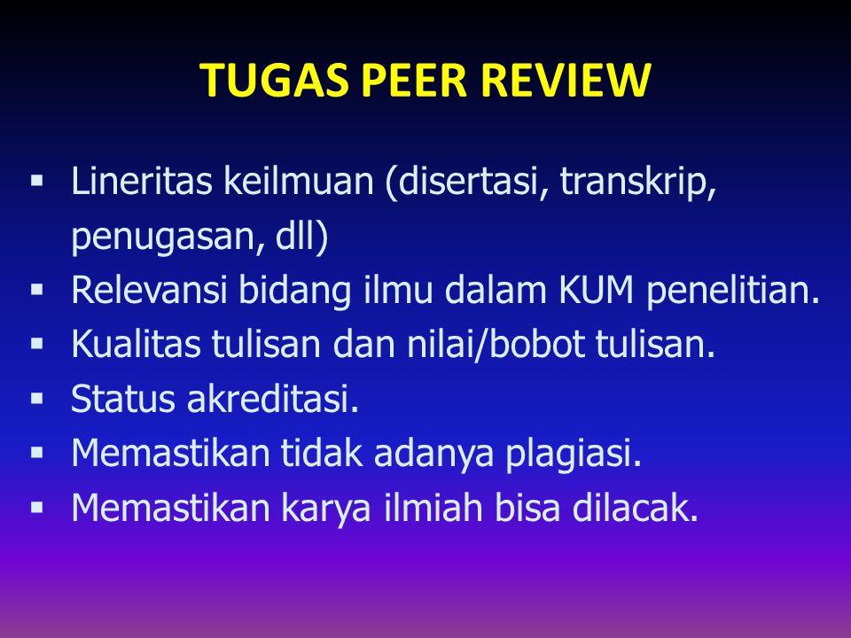 TUGAS PEER REVIEW Lineritas keilmuan (disertasi, transkrip, penugasan, dll) Relevansi bidang ilmu dalam KUM penelitian.