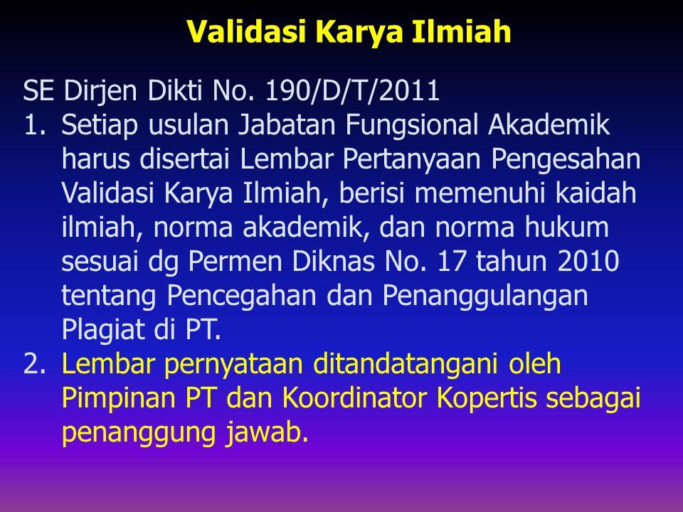 Validasi Karya Ilmiah SE Dirjen Dikti No. 190/D/T/2011