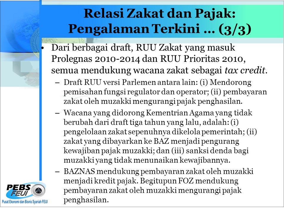 Relasi Zakat dan Pajak: Pengalaman Terkini … (3/3)