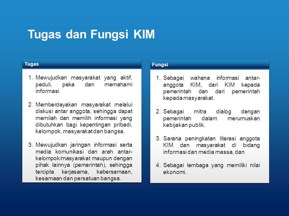 Tugas dan Fungsi KIM Tugas. Mewujudkan masyarakat yang aktif, peduli, peka dan memahami informasi.
