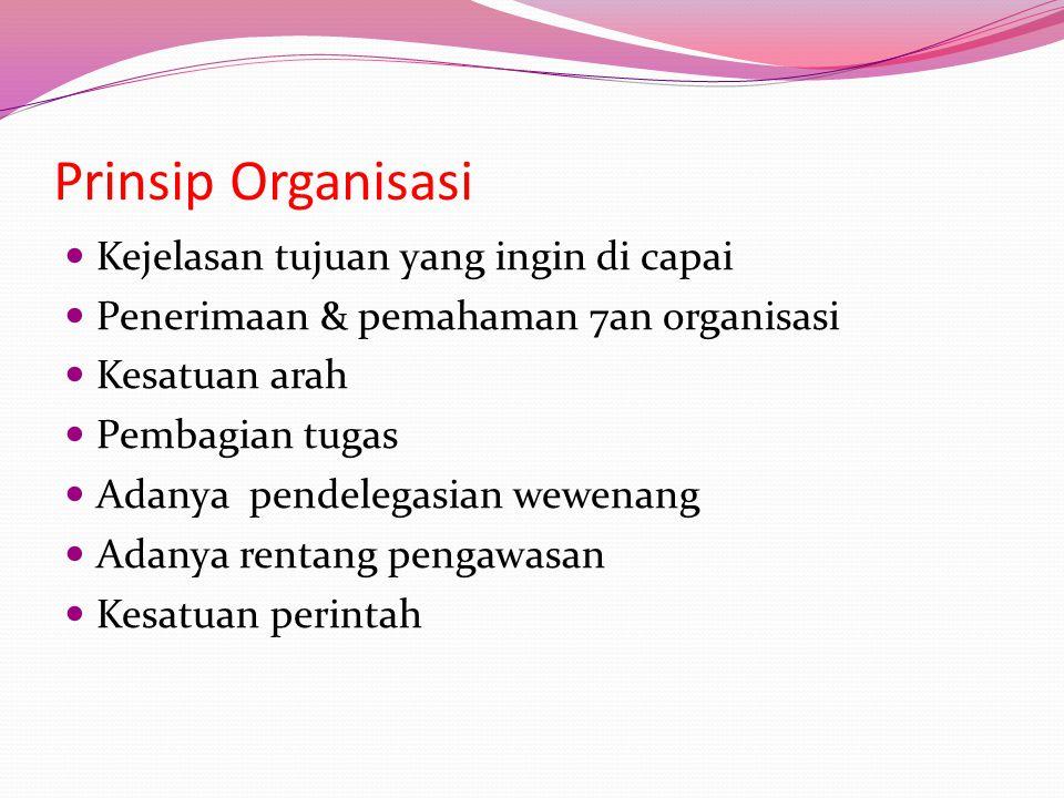 Prinsip Organisasi Kejelasan tujuan yang ingin di capai