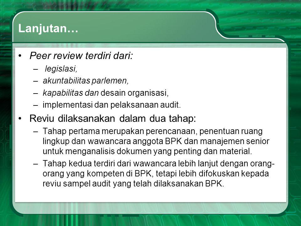 Lanjutan… Peer review terdiri dari: