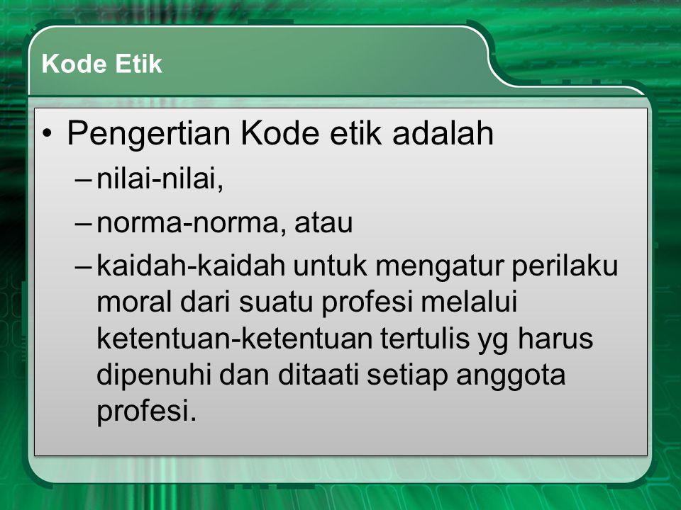 Pengertian Kode etik adalah