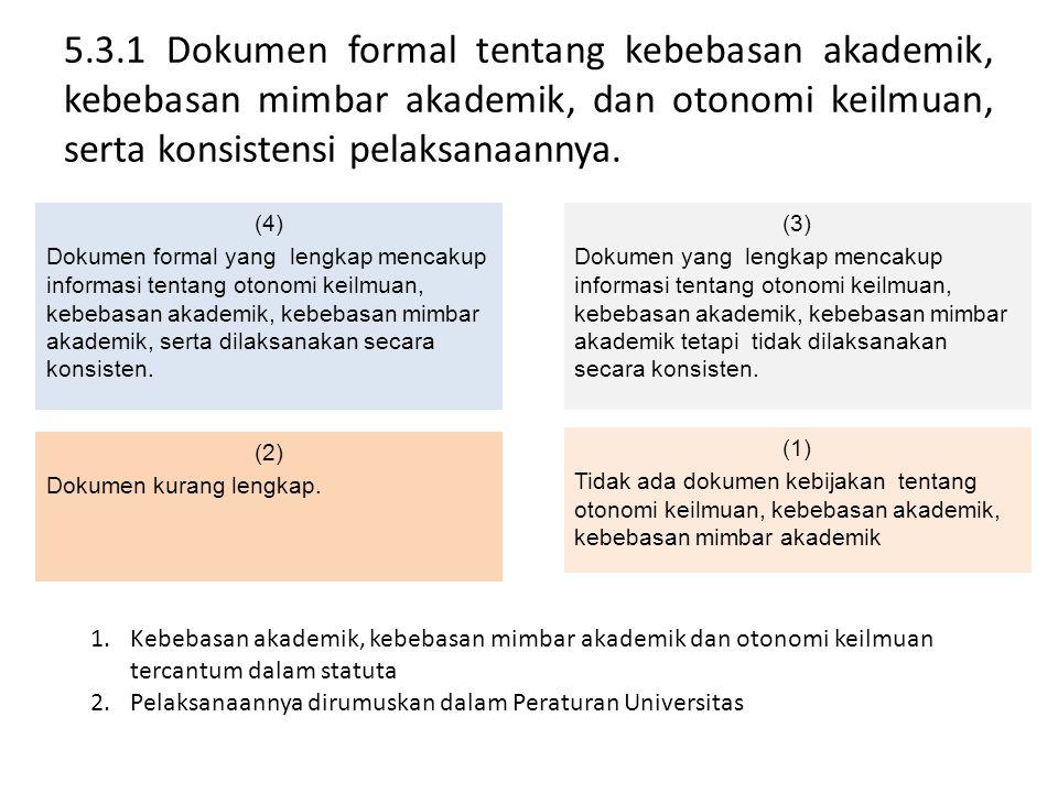 5.3.1 Dokumen formal tentang kebebasan akademik, kebebasan mimbar akademik, dan otonomi keilmuan, serta konsistensi pelaksanaannya.