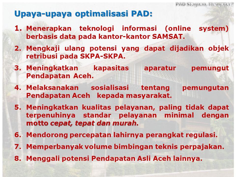 PAD Stagnan, Mengapa Upaya-upaya optimalisasi PAD: 1. Menerapkan teknologi informasi (online system) berbasis data pada kantor-kantor SAMSAT.