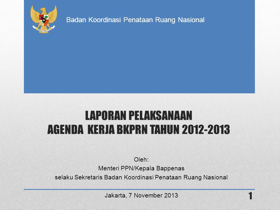 LAPORAN PELAKSANAAN AGENDA KERJA BKPRN TAHUN 2012-2013