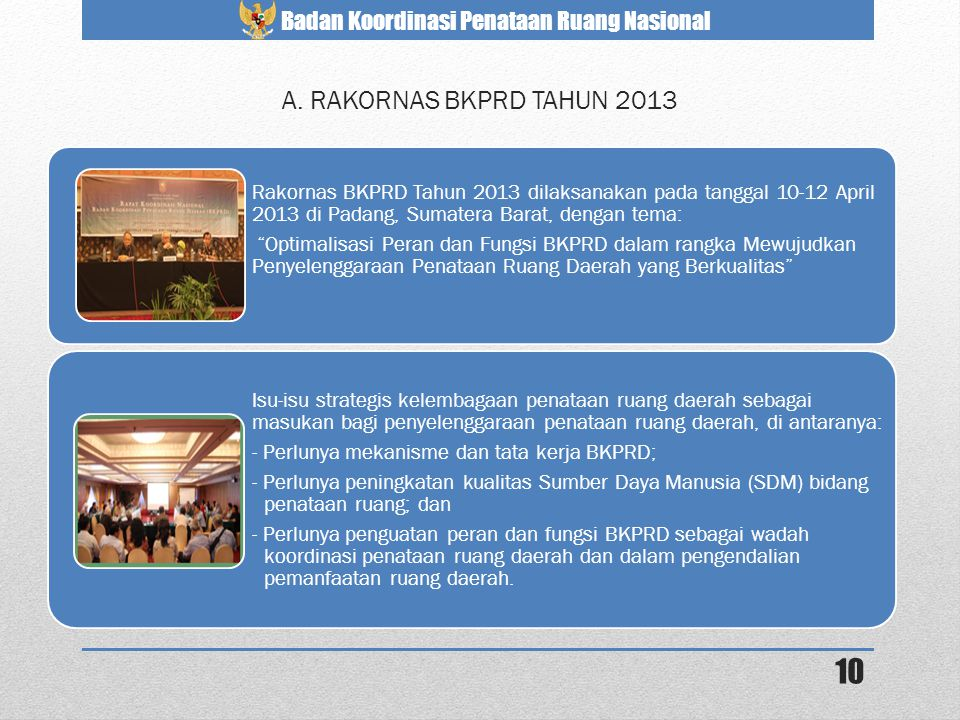 A. RAKORNAS BKPRD TAHUN 2013 Rakornas BKPRD Tahun 2013 dilaksanakan pada tanggal 10-12 April 2013 di Padang, Sumatera Barat, dengan tema: