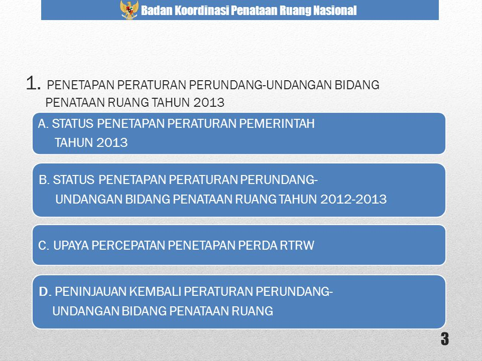 1. PENETAPAN PERATURAN PERUNDANG-UNDANGAN BIDANG PENATAAN RUANG TAHUN 2013