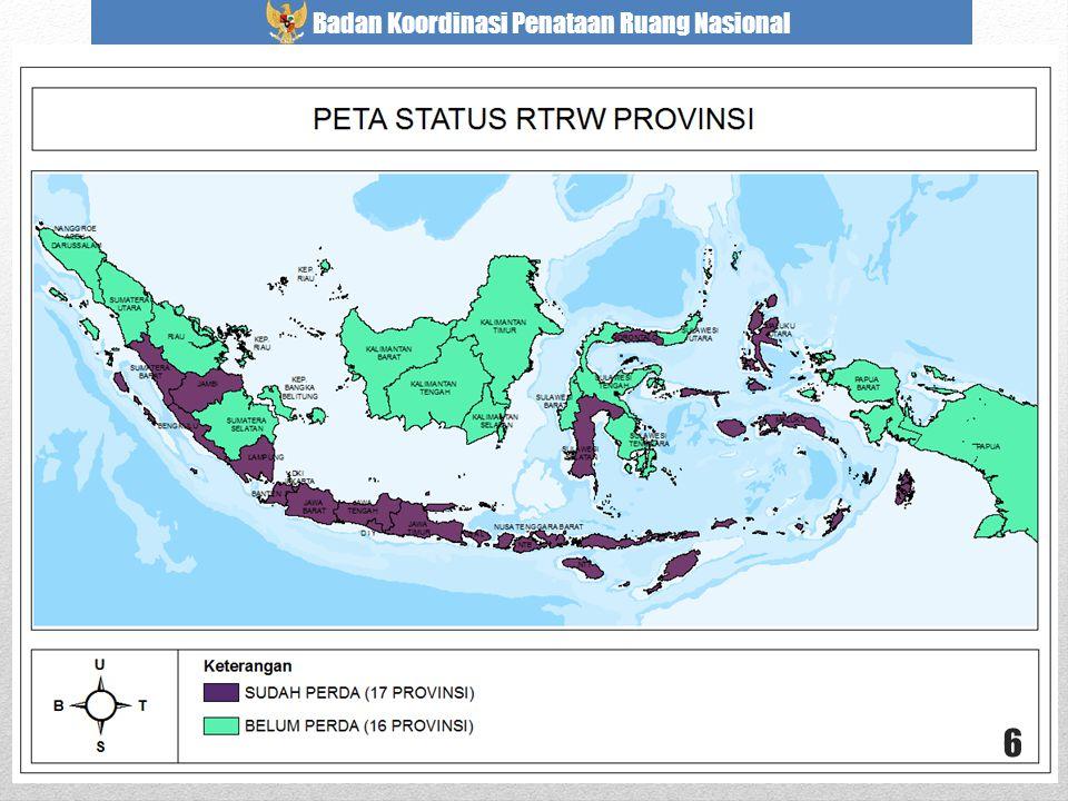 Apabila dituangkan ke dalam peta, status penetapan Perda RTRW Provinsi hingga akhir Juli 2013 adalah sebagai berikut: