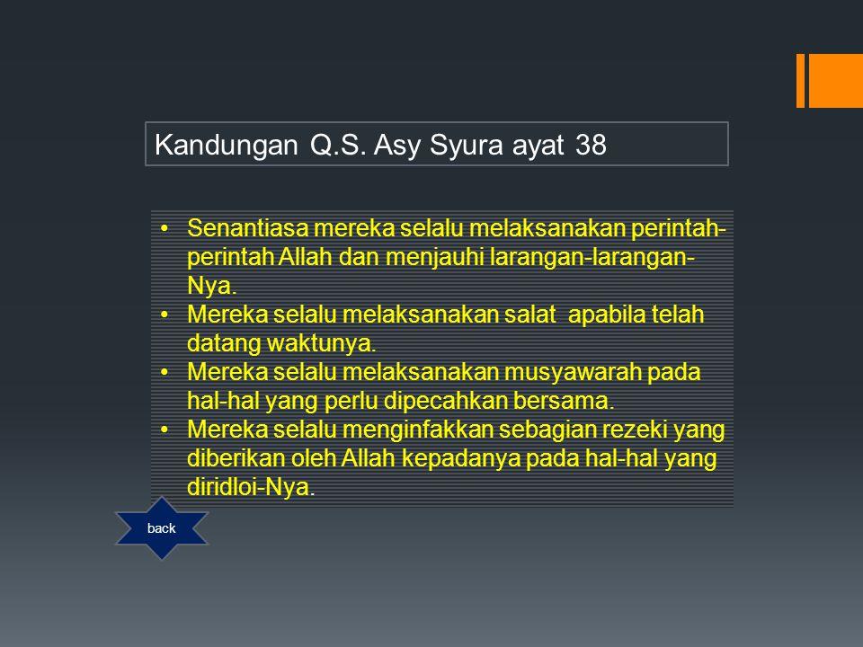 Kandungan Q.S. Asy Syura ayat 38