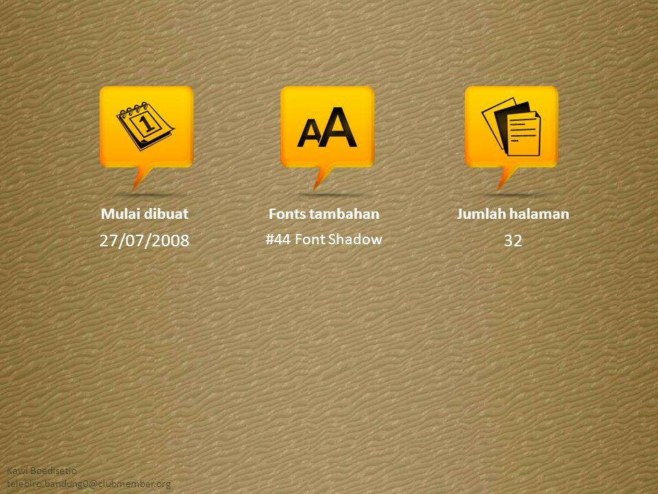 27/07/2008 32 Mulai dibuat Fonts tambahan #44 Font Shadow