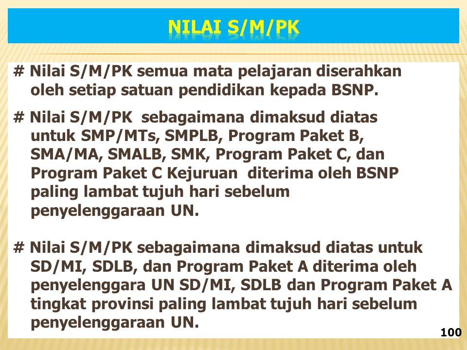 Nilai S/M/PK # Nilai S/M/PK semua mata pelajaran diserahkan