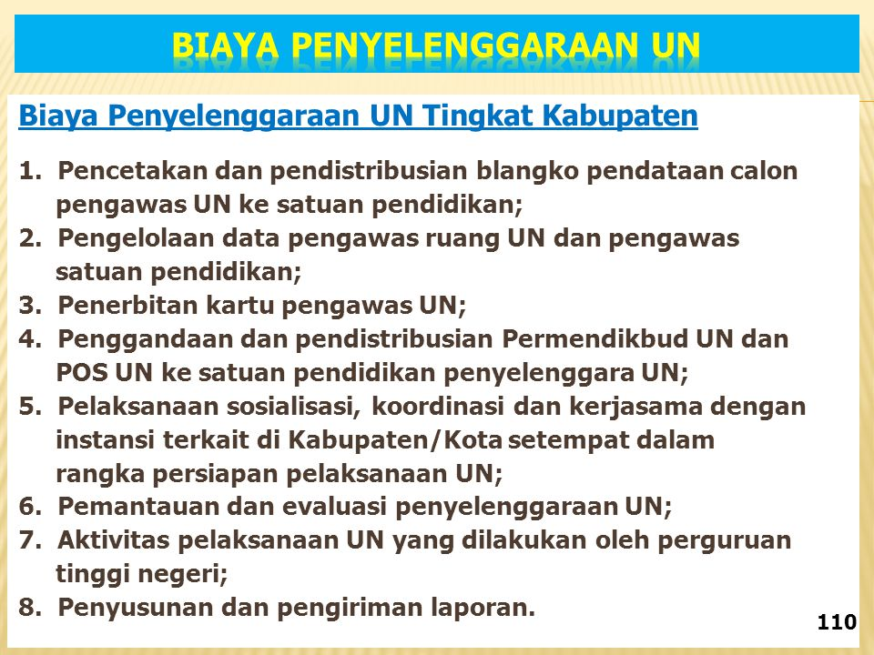 Biaya Penyelenggaraan UN