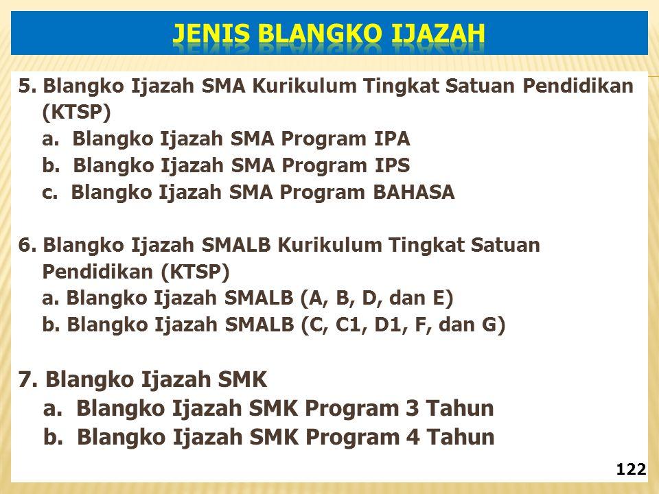 JENIS BLANGKO IJAZAH 7. Blangko Ijazah SMK