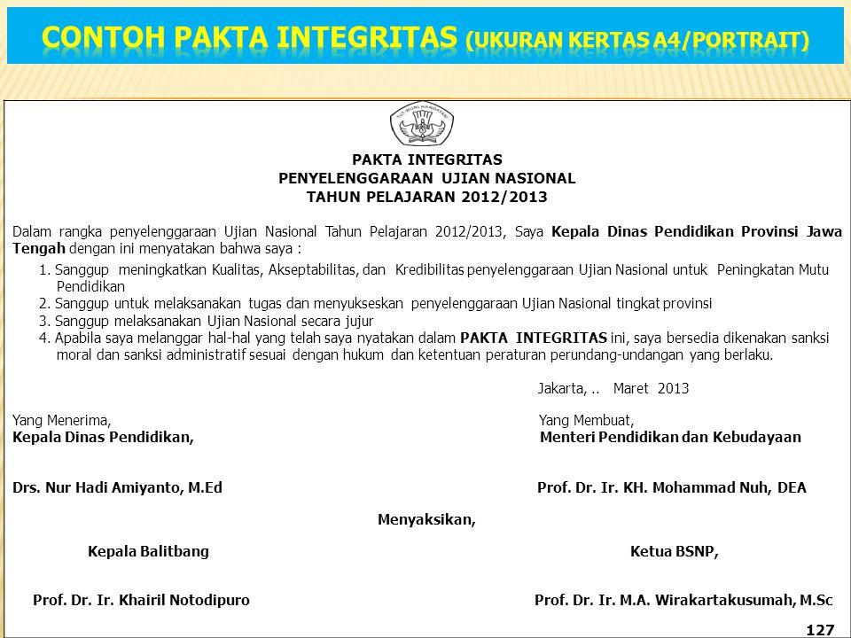Contoh pakta integritas (Ukuran kertas a4/PORTRAIT)