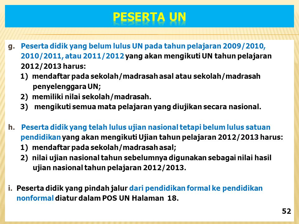 PESERTA UN g. Peserta didik yang belum lulus UN pada tahun pelajaran 2009/2010, 2010/2011, atau 2011/2012 yang akan mengikuti UN tahun pelajaran.