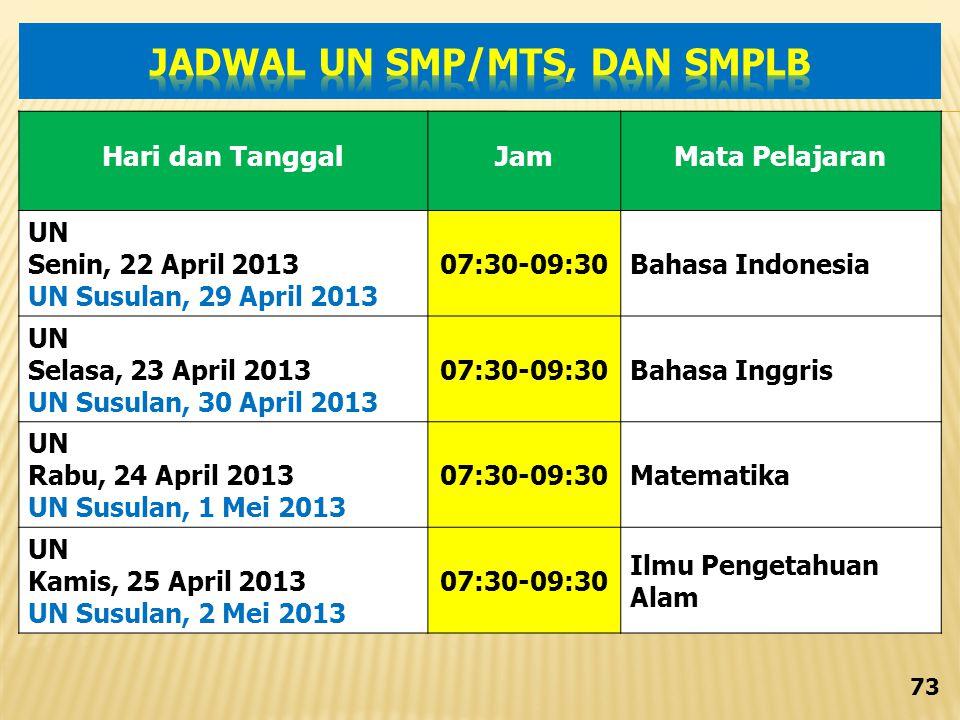 JADWAL UN SMP/MTs, DAN SMPLB