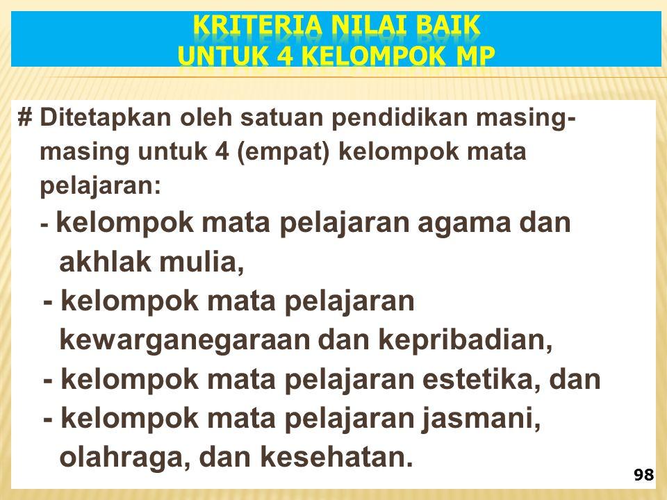 KRITERIA NILAI BAIK untuk 4 kelompok MP