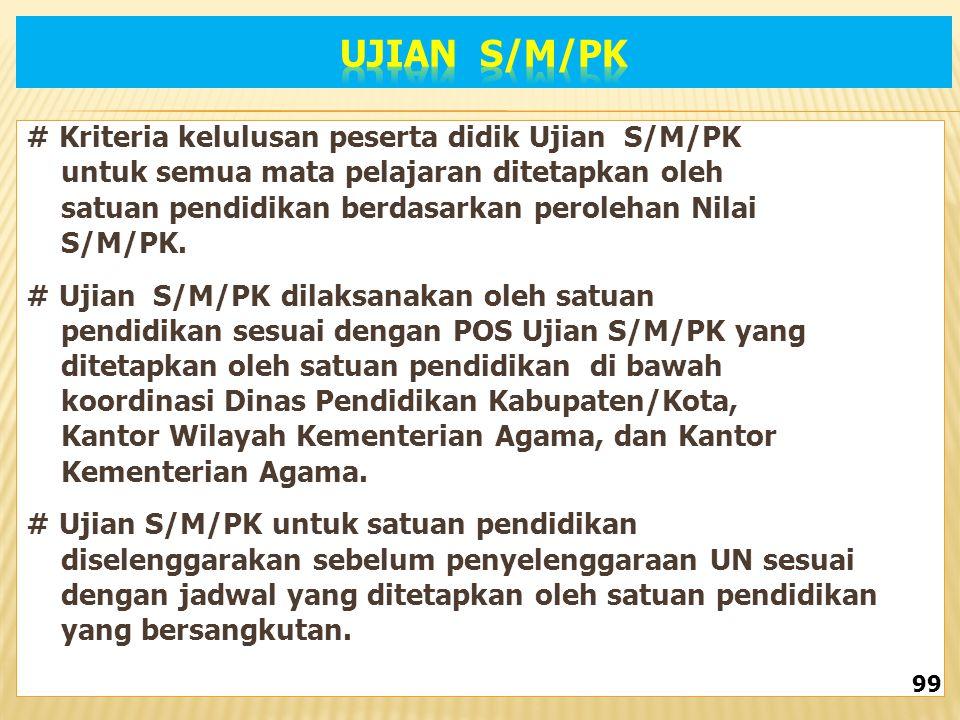 UJIAN S/M/PK # Kriteria kelulusan peserta didik Ujian S/M/PK
