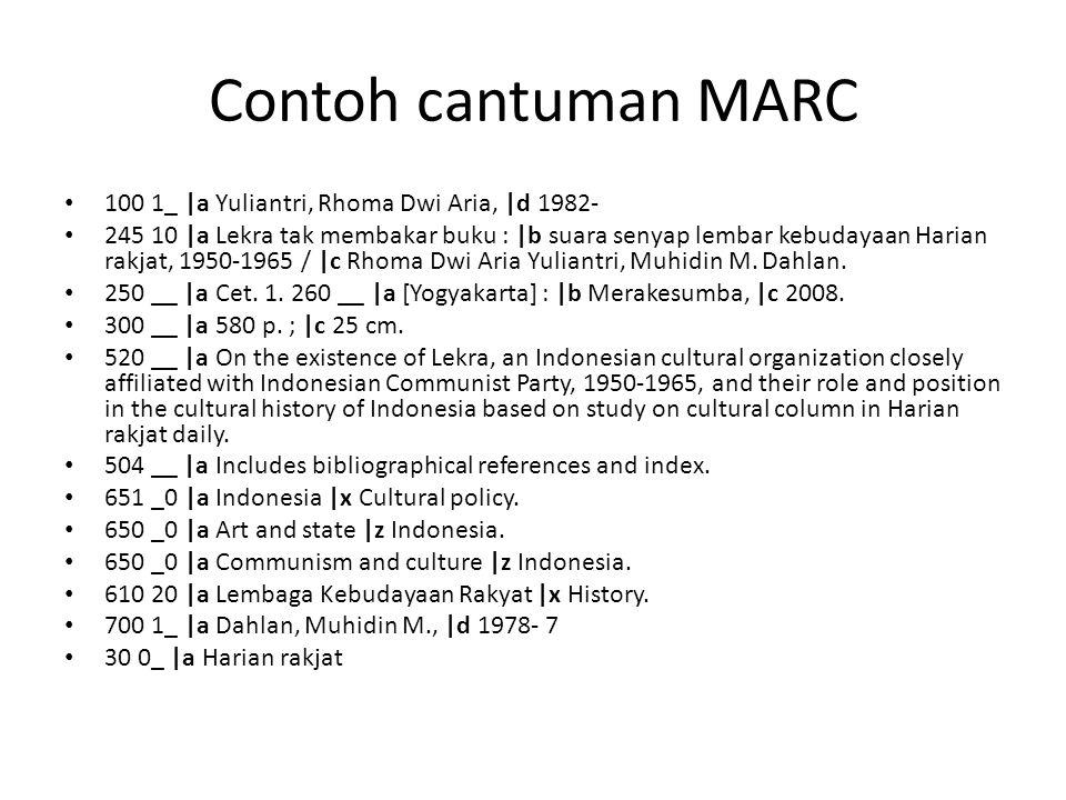 Contoh cantuman MARC 100 1_ |a Yuliantri, Rhoma Dwi Aria, |d 1982-